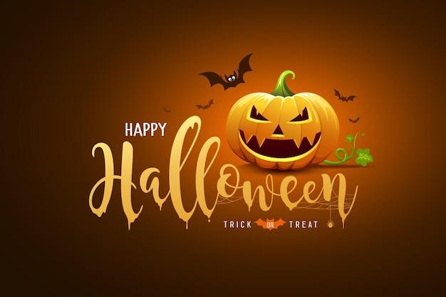 Happy halloween testo design e zucca sorriso e pipistrello sul design banner arancione e nero