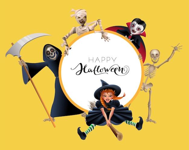 Cartolina d'auguri di felice halloween cornice di testo strega sul vampiro scopa
