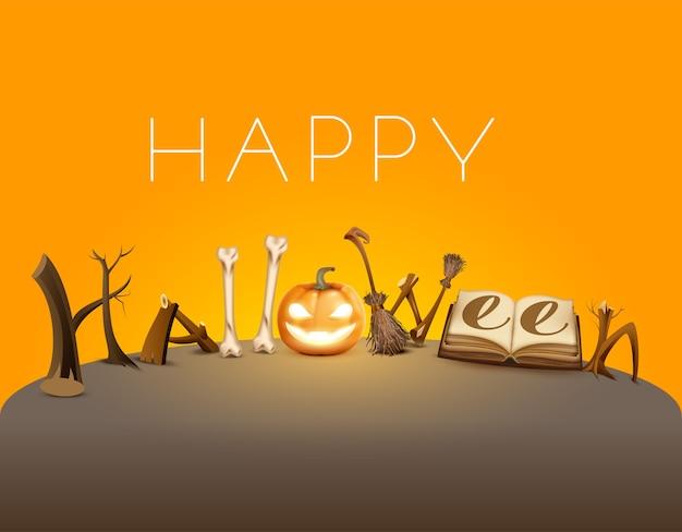 Cartolina d'auguri felice del testo di halloween. lanterna di zucca, libro magico e accessorio per le vacanze di scopa. illustrazione