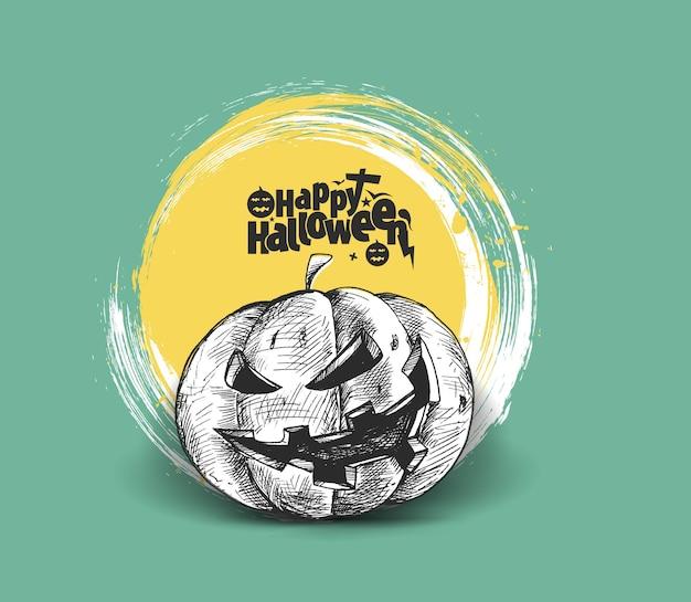 Testo di halloween felice con disegno vettoriale di schizzo disegnato a mano di zucca.
