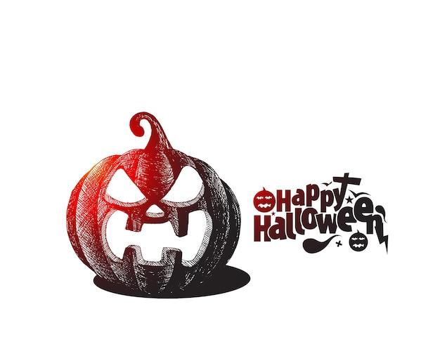 Testo felice di halloween con disegno di vettore di schizzo disegnato a mano della zucca.