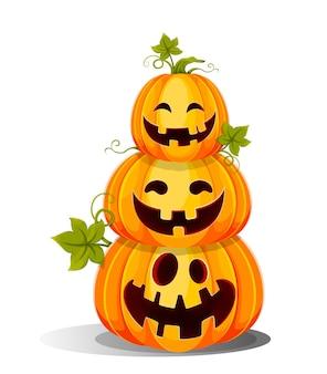 Felice halloween tre divertenti lanterne jack o sedute l'una sull'altra