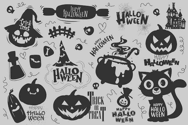 Elementi felici di halloween (dolcetto o scherzetto) per l'invito.