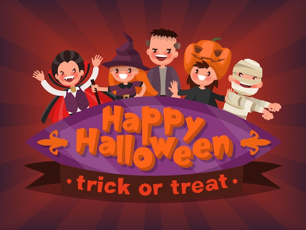 Felice halloween. dolcetto o scherzetto. invito a una mascherata per bambini. illustrazione