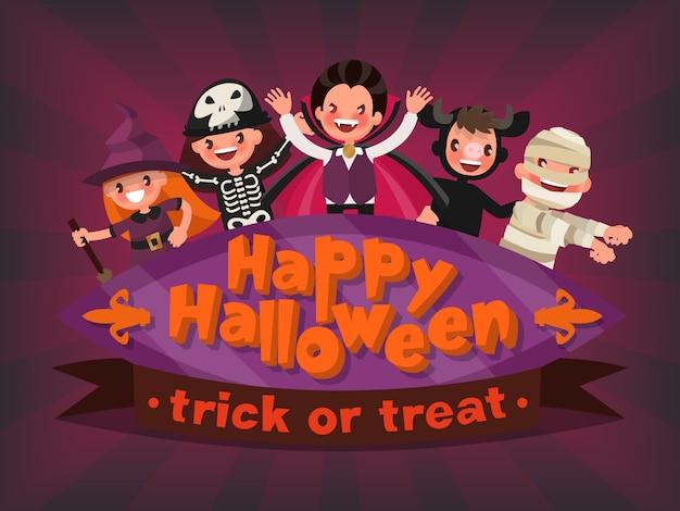Felice halloween. dolcetto o scherzetto. invito a una festa per bambini. illustrazione di un design piatto