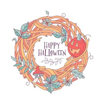 Cartolina d'auguri di felice halloween vettoriale