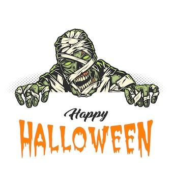 Biglietto vintage happy halloween con mummia inquietante su mezzitoni