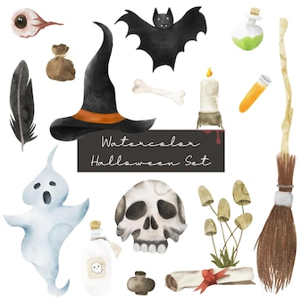 Set di acquerelli di halloween felice