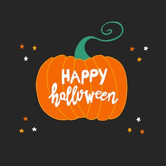 Felice halloween. lettere scritte a mano bianche su zucca arancione con stelle doodle su sfondo grigio scuro.