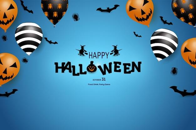 Buon halloween con sfondo blu e alcuni palloncini in cima