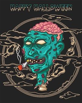 Buon halloween con deathman, chiama uno zombi di nuovo in vita con il cigarete della sua bocca, dettagli con il cervello che guarda sulla testa e molta cicatrice sulla sua pelle e la luna come sfondo