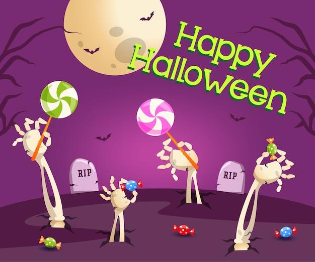 Felice halloween con tombe e teschio che raggiungono le caramelle