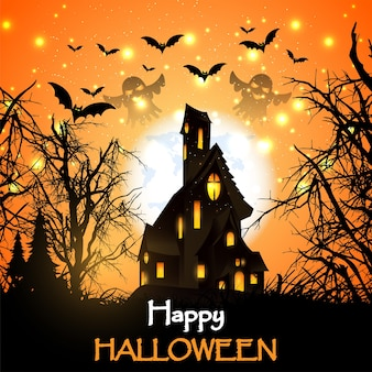Felice halloween con casa hounted e zucche e pipistrelli.