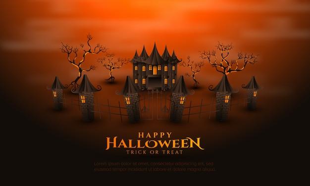 Felice halloween con sfondo di casa