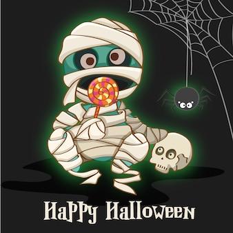 Felice halloween con sfondo mummia
