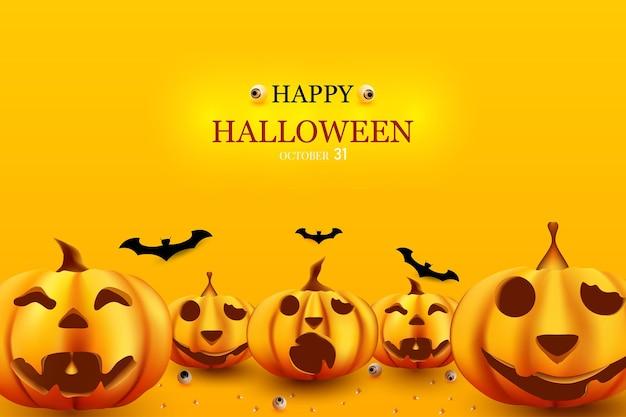 Buon halloween con sfondo di zucca sotto e pipistrelli sopra