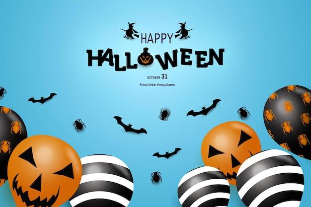 Buon halloween con una decorazione di zucca tra i pali