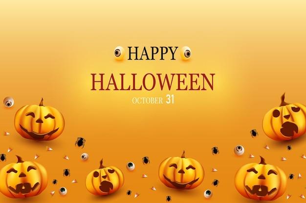 Buon halloween con sfondi di ragno zucca e caramelle qui sotto