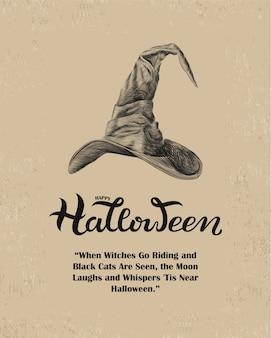 Happy halloween con cappello da strega e lettere disegnate a mano