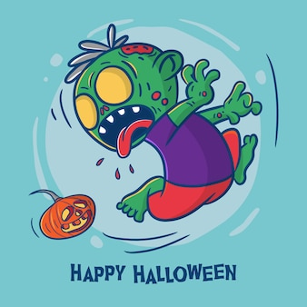 Happy halloween con illustrazione di cartone animato zombie