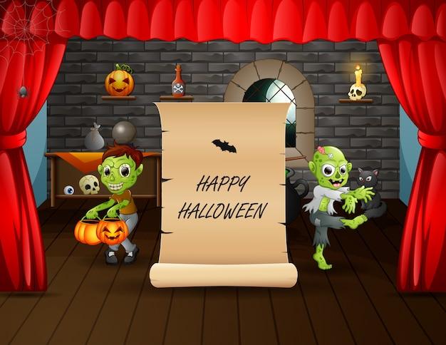 Felice halloween con zombie in piedi