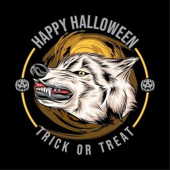 Felice halloween il vettore di disegno della testa di lupo