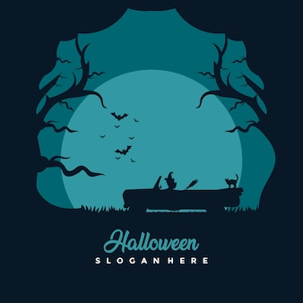 Felice illustrazione di progettazione del modello di halloween