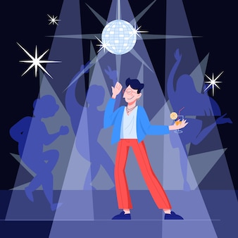 Giovane bello felice che balla alla musica in un club. ragazzo alla moda che tiene un cocktail. illustrazione in stile
