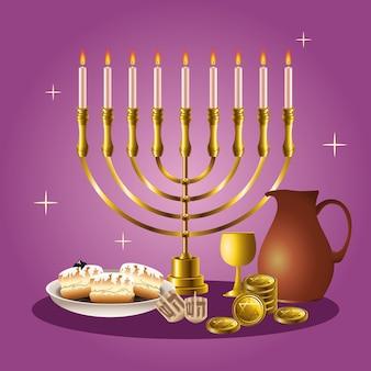 Scheda di celebrazione di hanukkah felice con candelabro ed elementi dorati
