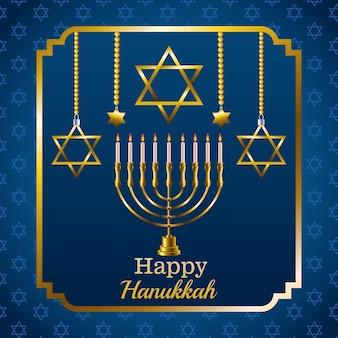 Scheda di celebrazione felice hanukkah con candelabro e stelle in cornice quadrata