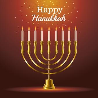Scheda di celebrazione felice hanukkah con candelabro
