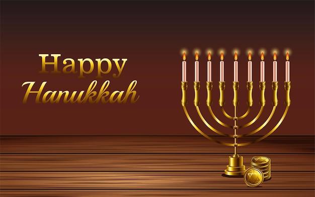 Iscrizione di celebrazione di hanukkah felice con lampadario in un tavolo di legno
