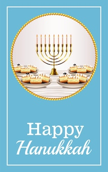 Iscrizione di celebrazione di hanukkah felice con lampadario dorato e ciambelle dolci