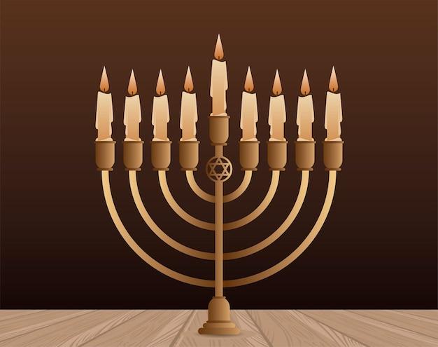 Celebrazione felice di hanukkah con disegno dell'illustrazione del candelabro