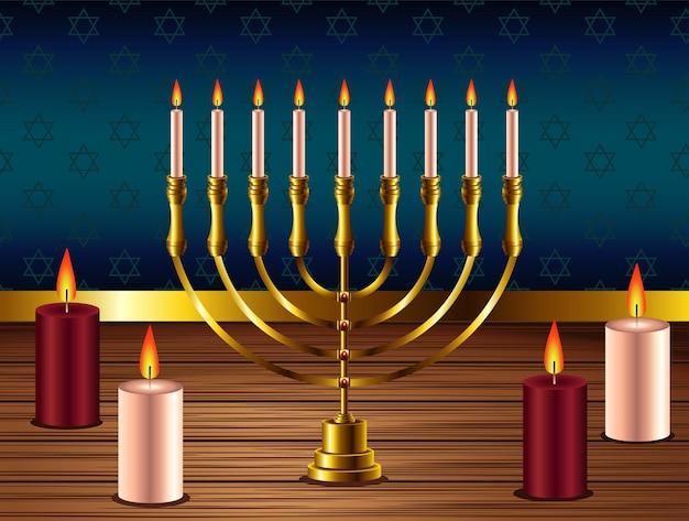 Felice festa di hanukkah con lampadario dorato e candele