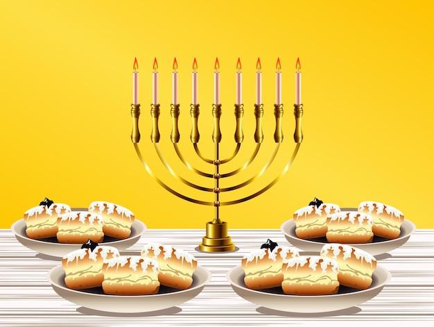 Felice festa di hanukkah con lampadario dorato e ciambelle dolci