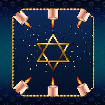 Felice festa di hanukkah con stella d'oro e candele in cornice quadrata
