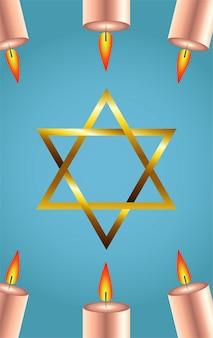 Felice festa di hanukkah con stella d'oro e candele