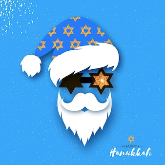 Cartolina d'auguri felice di hanukkah. festività ebraiche. chanukah. stella david incandescente. buon christmukkah babbo natale. natale e hanukkah
