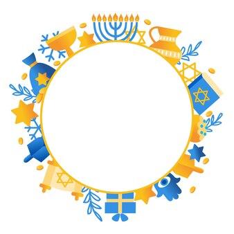 Iscrizione di festa di hanukkah felice isolata su disegno tipografico di vettore disegnato a mano bianco