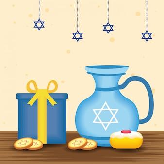Illustrazione felice di chanukah con il dolce dell'alimento e della teiera