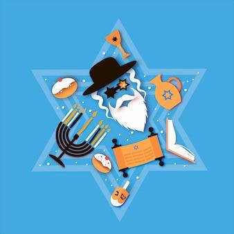 Felice hanukkah. la festa ebraica delle luci. personaggio di uomo ebreo in bicchieri di stelle di david. menorah festosa, dreidel. dolce cuocere tradizionale e luci dorate. spazio per il testo. stile taglio carta.