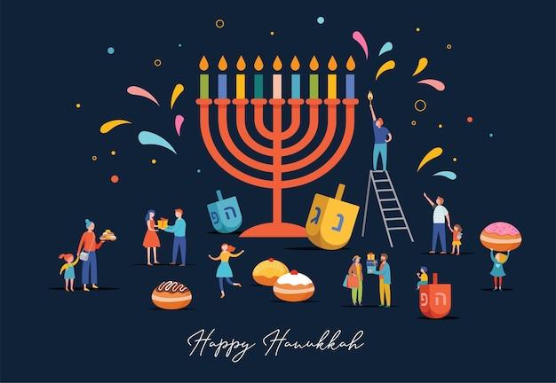 Happy hanukkah, festival ebraico delle luci in scena con persone, famiglie felici con bambini. Vettore Premium