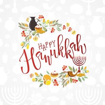 Happy hanukkah lettering tipografia happy hanukkah poster con fiori candele monete erbe