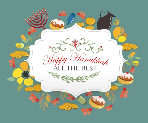 Distintivo del logo happy hanukkah e tipografia di icone raccolta vettoriale di elementi per l'icona di hanukkah