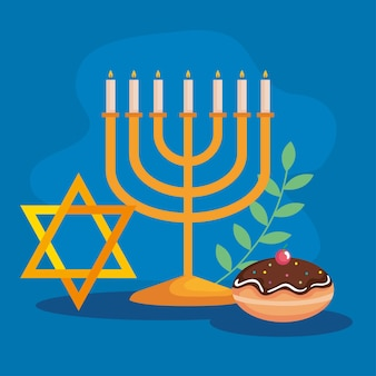 Felice hanukkah menorah star e design sufganiot, festa della religione ebraica