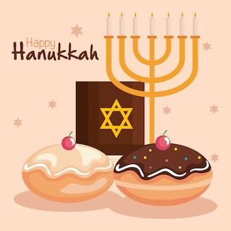 Felice hanukkah menorah torah e sufganiot design, festa di celebrazione della religione ebraica