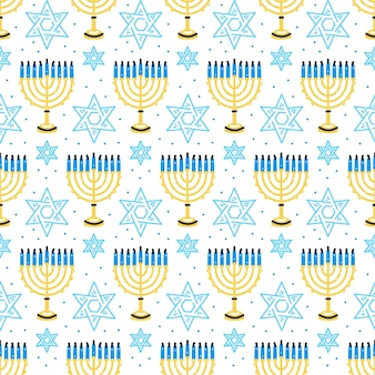 Modello felice di hanukkah con candele tradizionali menorah senza cuciture