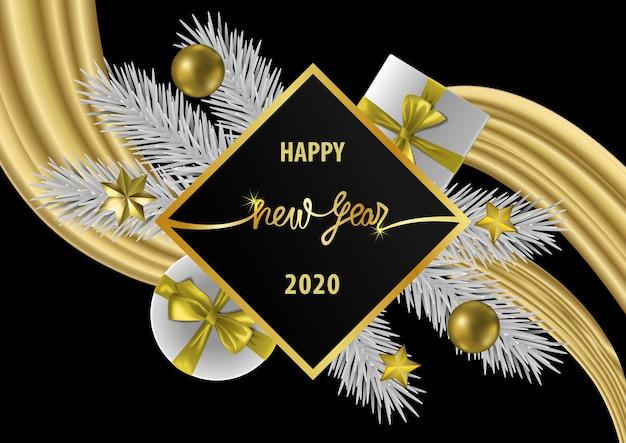 Banner web happy hew year con decorazioni natalizie