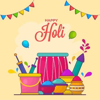 Happy holi celebration concept con elementi di festival su sfondo giallo.